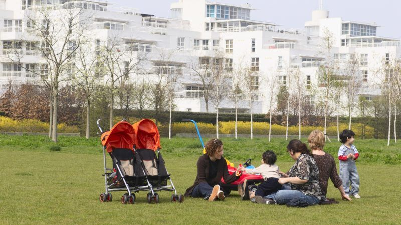 Barrier Point Apartments looking over Thames Barrier Park, East London, UK. (Photo by BuildPix/Construction Photography/Avalon/Getty Images)