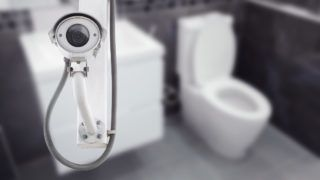 CCTV Camera or surveillance operating with toilet room