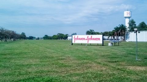 Johnson and Johnson. Pharmaceutical, cosmetic and medical device company located in Brazil. Detail of the green field where the factory is located and its sign with the traditional logo.