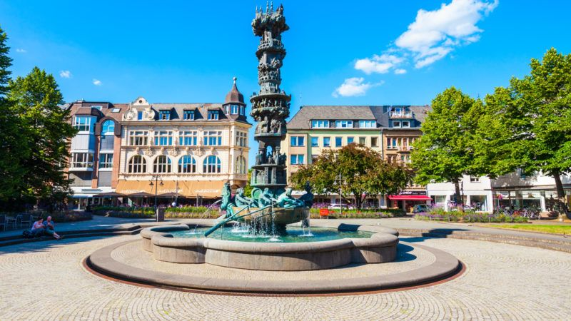KOBLENZ, GERMANY - JUNE 27, 2018: History column or Historiensaule in the centre of Koblenz town in Germany