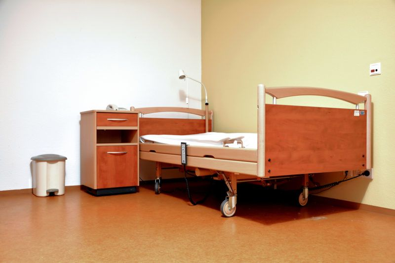 Bed in the room of a nursing home