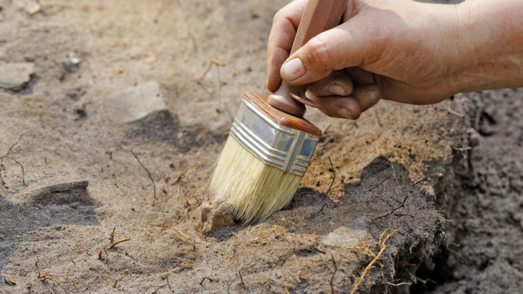 Archaeology: a thin layer stripping.One of the stages of excavation