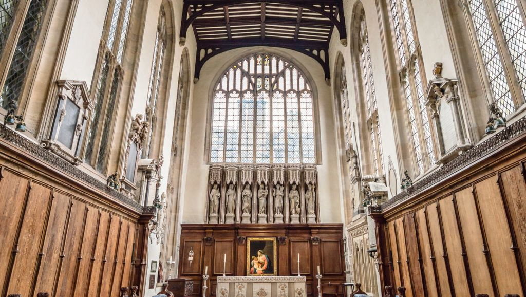 Oxford, United Kingdom - August 12, 2015: Interior view of University Church of St Mary the Virgin in Oxford.