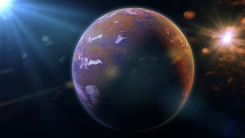 colourful fantasy planet lit by a two sun