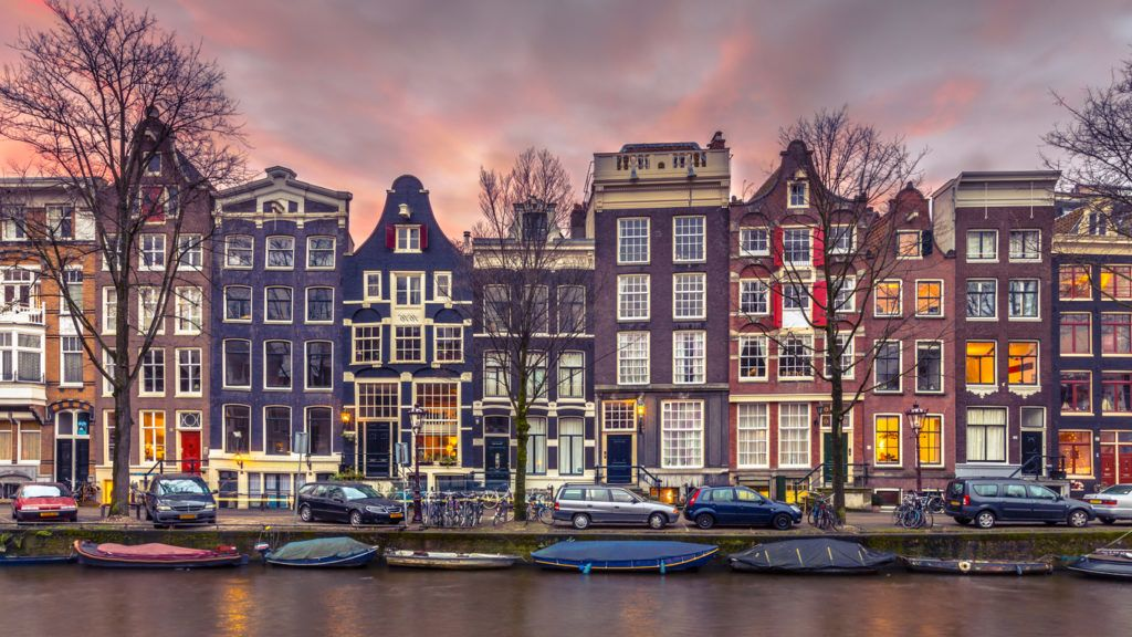 Colorful canal houses in vintage toning on Brouwersgracht in the grachtengordeal the UNESCO World Heritage site of Amsterdam