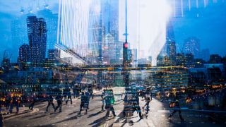 Multiple exposure of city commuters crossing a street and skyscrapers of the City of London