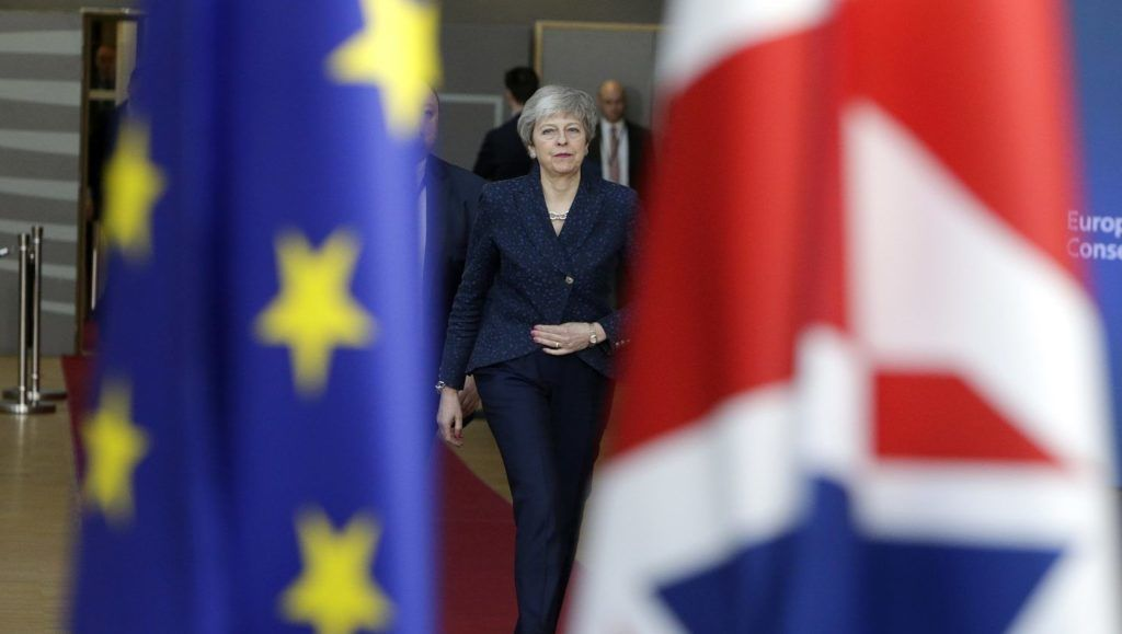 Britain's Prime Minister Theresa May arrives on March 21, 2019 in Brussels on the first day of an EU summit focused on Brexit. - European Union leaders meet in Brussels on March 21 and 22, for the last EU summit before Britain's scheduled exit of the union. (Photo by Aris Oikonomou / AFP)
