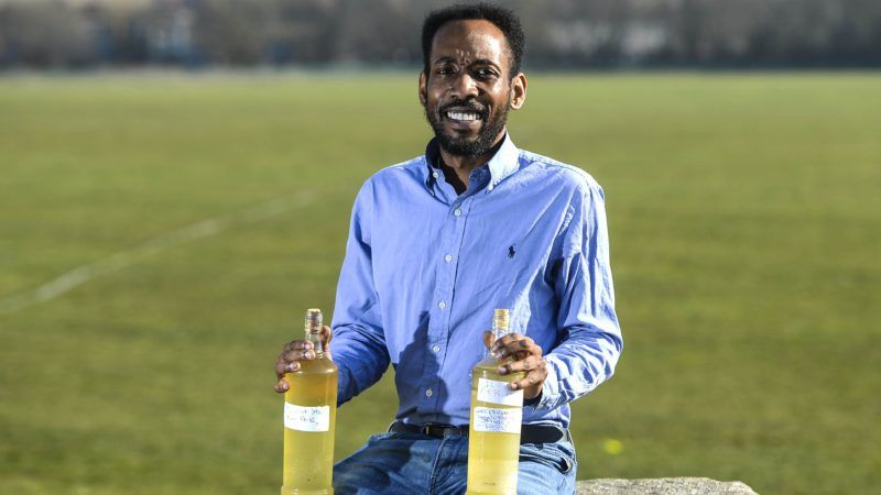 """Fabian Farquharson, 37 a 'fruitarian' who drinks his own urine. See SWNS story SWOCurine; Meet the man who believes he has found the secret ingredient to leading a healthy life - drinking his own URINE. Fabian Farquharson, 37, has been gulping down his own fresh and month-old urine for three years, after reading about the purported health benefits online. He drinks up to one litre at room temperature at midday – the first thing he'll consume each day, starting with a pint of fresh urine and chased down with 300-400ml of aged. The interior designer claims the unusual thirst quencher has left him feeling healthier, happier and smarter. Fabian from Sheffield, South Yorkshire, said: """"I'd been researching alternative medicines when I read about drinking aged urine. ***EXCLUSIVE***"""