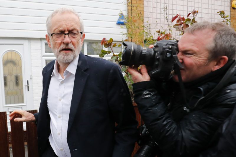Opposition Labour party leader Jeremy Corbyn leaves his home in north London on April 4, 2019. - The British government and the main opposition were to hold further crisis talks today after MPs voted in favour of a Brexit delay that would avoid Britain crashing out of the EU on April 12. (Photo by Tolga AKMEN / AFP)
