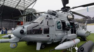 An Airbus Caracal H225M military helicopter is on display during the 23rd International Defence Industry Exhibition MSPO in Kielce, Poland on September 2, 2015. The Defence Industry Exhibition runs from September 1 until September 4, 2015. AFP PHOTO /JANEK SKARZYNSKI (Photo by JANEK SKARZYNSKI / AFP)