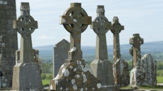 IRELAND, COUNTY OF TIPPERARY; CELTIC CROSSES, CHURCH AND CIMETERY OF THE CASTLE OF CASHEL