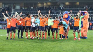 ISTANBUL, TURKEY - MARCH 9: Football players  of Medipol Basaksehir celebrate their victory at the end of the Turkish Super Lig soccer match between Medipol Basaksehir and Fenerbahce at 3rd Istanbul Basaksehir Fatih Terim Stadium in Istanbul, Turkey on March 9, 2019.  Isa Terli / Anadolu Agency