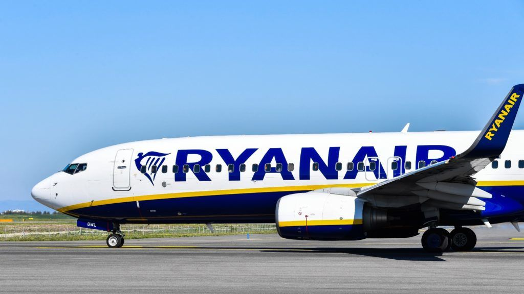 An airliner bearing the Ryanair Irish low-cost airline livery taxies on the tarmac on March 30, 2019 at Rome's Fiumicino airport. (Photo by Andreas SOLARO / AFP)