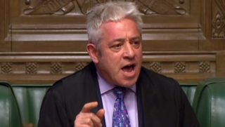 "A video grab from footage broadcast by the UK Parliament's Parliamentary Recording Unit (PRU) shows John Bercow, speaker of the House of Commons casting his vote after a tie is declared on the Benn Amendment on future indicative votes in the House of Commons in London on April 3, 2019. - Britain's Prime Minister Theresa May was to meet on Wednesday with the leader of Britain's main opposition party in a bid to thrash out a Brexit compromise with just days to go until the deadline for leaving the bloc. (Photo by HO / PRU / AFP) / RESTRICTED TO EDITORIAL USE - MANDATORY CREDIT "" AFP PHOTO / PRU "" - NO USE FOR ENTERTAINMENT, SATIRICAL, MARKETING OR ADVERTISING CAMPAIGNS"