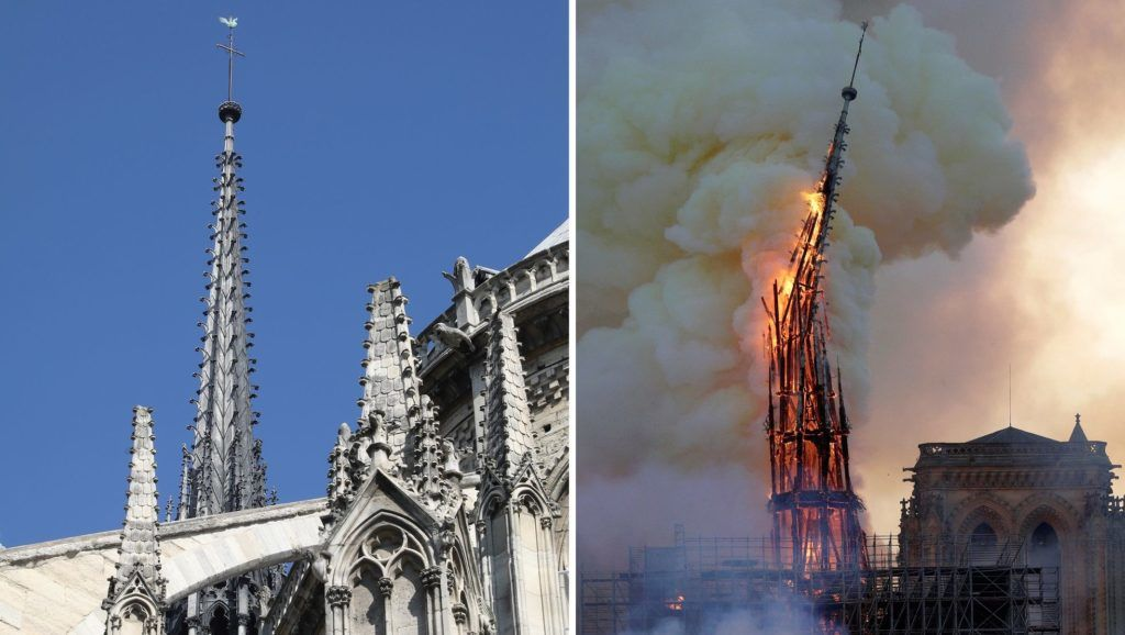 (FILES) This combination of file photographs shows the steeple and spire Notre-Dame de Paris Cathedral - (L) taken on June 26, 2018 showing sculptures and the steeple and spire and (R) the steeple and spire of the landmark cathedral collapsing as the cathedral is engulfed in flames in central Paris on April 15, 2019. - A huge fire swept through the roof of the famed Notre-Dame Cathedral in central Paris on April 15, 2019, sending flames and huge clouds of grey smoke billowing into the sky. The flames and smoke plumed from the spire and roof of the gothic cathedral, visited by millions of people a year. A spokesman for the cathedral told AFP that the wooden structure supporting the roof was being gutted by the blaze. (Photo by Ludovic MARIN and Geoffroy VAN DER HASSELT / AFP)