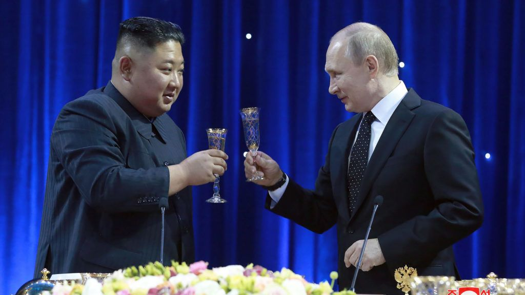 """This picture taken on April 25, 2019 and released by North Korea's official Korean Central News Agency (KCNA) on April 26 shows Russian President Vladimir Putin (R) and North Korean leader Kim Jong Un attending a reception following their talks at the Far Eastern Federal University campus on Russky island in the far-eastern Russian port of Vladivostok. (Photo by KCNA VIA KNS / KCNA VIA KNS / AFP) / South Korea OUT / REPUBLIC OF KOREA OUT   ---EDITORS NOTE--- RESTRICTED TO EDITORIAL USE - MANDATORY CREDIT """"AFP PHOTO/KCNA VIA KNS"""" - NO MARKETING NO ADVERTISING CAMPAIGNS - DISTRIBUTED AS A SERVICE TO CLIENTS THIS PICTURE WAS MADE AVAILABLE BY A THIRD PARTY. AFP CAN NOT INDEPENDENTLY VERIFY THE AUTHENTICITY, LOCATION, DATE AND CONTENT OF THIS IMAGE. /"""