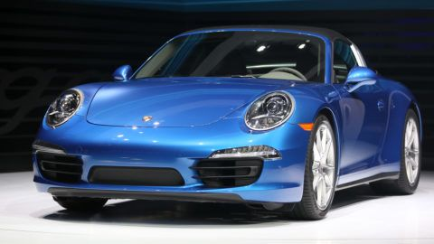 The new Porsche 911 Targa is introduced at the 2014 North American International Auto Show in Detroit, Michigan, on January 13, 2014.    AFP PHOTO/Geoff Robins (Photo by GEOFF ROBINS / AFP)