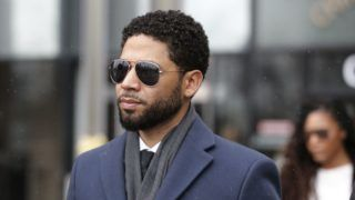 "CHICAGO, IL - MARCH 14: Actor Jussie Smollett leaves Leighton Criminal Courthouse after his court appearance on March 14, 2019 in Chicago, Illinois. Smollett stands accused of arranging a homophobic, racist attack against himself in an attempt to raise his profile because he was dissatisfied with his salary on the Fox television drama ""Empire.""   Nuccio DiNuzzo/Getty Images/AFP"