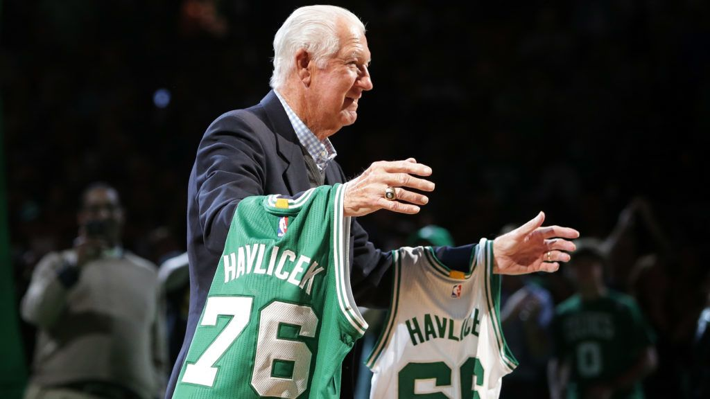 BOSTON, MA - APRIL 13: Member of the Boston Celtics 1966 and 1976 Championship teams John Havlicek is honored at halftime of the game between the Boston Celtics and the Miami Heat at TD Garden on April 13, 2016 in Boston, Massachusetts. NOTE TO USER: User expressly acknowledges and agrees that, by downloading and/or using this photograph, user is consenting to the terms and conditions of the Getty Images License Agreement.   Mike Lawrie/Getty Images/AFP