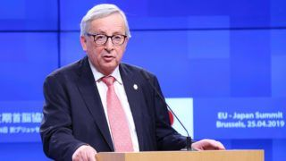 BRUSSELS, BELGIUM - APRIL 25: European Commission President Jean-Claude Juncker makes a speech during a joint press conference with President of the European Council Donald Tusk (not seen) and Japanese Prime Minister Shinzo Abe (not seen) following the EU - Japan Summit meeting at the EU Council headquarter in Brussels, Belgium on April 25, 2019. Dursun Aydemir / Anadolu Agency