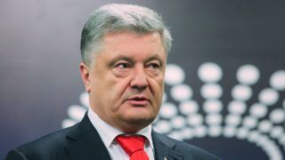 Ukrainian President and Presidential candidate Petro Poroshenko talks to media after he passed medical VADA procedure for drug and alcohol testing, at the Olimpiysky stadium in Kyiv, Ukraine, April 10, 2019. Voluntary Anti-Doping Association (VADA)s experts arrived in Kyiv to conduct the examination of the biological materials of presidential candidates. On April 3 Ukrainian presidential candidate Volodymyr Zelenskiy declared his readiness to participate to the debate with Petro Poroshenko after undergoing a medical examination for alcohol and drug addictions. The second round of Ukraine's presidential election will be held on 21 April 2019.  (Photo by Sergii Kharchenko/NurPhoto)