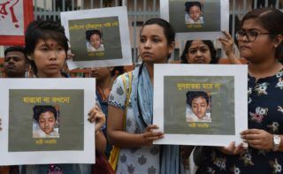 Different organization held a protest rally against the murder of Nusrat Jahan Rafi, a madrasa girl from Feni who was burnt in reprisal after sexual abuse charges against the principal, in Dhaka, Bangladesh, on April 12, 2019. A group of four unidentified persons poured kerosene on the 18-year-old girl and set her afire on April 6 allegedly for refusing to withdraw a case against the principal of Sonagazi Islamia Senior Fazil Madrasa over sexual assault on her late last month. (Photo by Mamunur Rashid/NurPhoto)