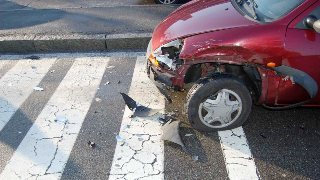 Milan, Italy, April 2, 2013: the car is demaged after the side collision in urban area.