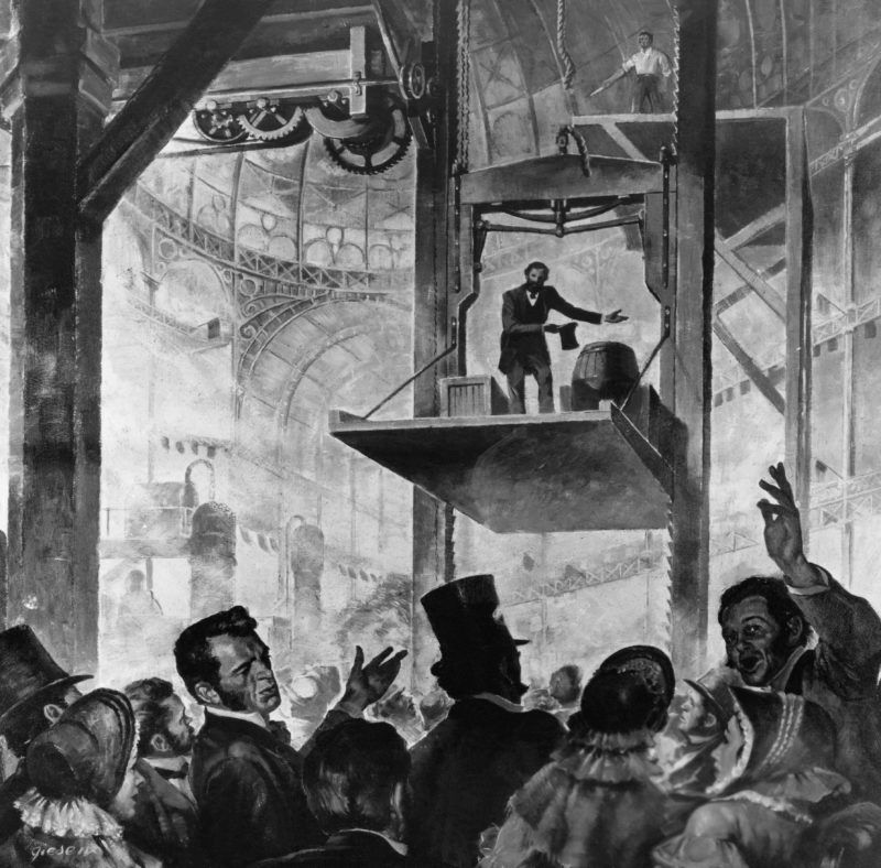 Elisha Graves Otis shows his first elevator in the Crystal Palace, New York City, 1853. --- Image by © Bettmann/CORBIS