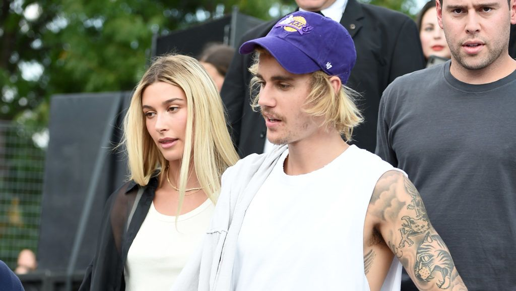 NEW YORK, NY - SEPTEMBER 06:  Hailey Baldwin (L) and Justin Bieber attend the John Elliott front row during New York Fashion Week: The Shows on September 6, 2018 in New York City.  (Photo by Theo Wargo/Getty Images for NYFW: The Shows)