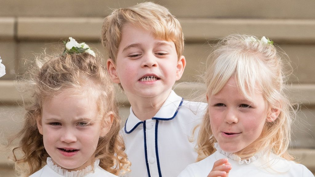 WINDSOR, ENGLAND - OCTOBER 12:  Prince George of Cambridge attends the wedding of Princess Eugenie of York and Jack Brooksbank at St. George's Chapel on October 12, 2018 in Windsor, England.  (Photo by Pool/Samir Hussein/WireImage)