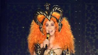 """ESTERO, FL - JANUARY 17:  Cher performs on stage during the opening night of her """"Here We Go Again"""" tour, her first US tour in five years at The Hertz Arena on January 17, 2019 in Estero, Florida. The one and only Cher received a roaring response at the opening night of her 35 city North American """"Here We Go Again"""" tour. The multi-award winning star performed lots of her hits along with several songs from her current """"Dancing Queen"""" Abba tribute album.  (Photo by Kevin Mazur/Getty Images for Live Nation)"""