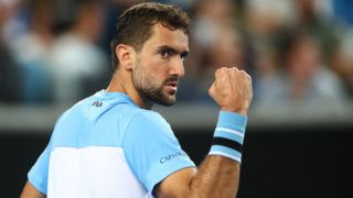 MELBOURNE, AUSTRALIA - JANUARY 18:  Marin Cilic of Croatia in celebrates against Fernando Verdasco of Spain during day five of the 2019 Australian Open at Melbourne Park on January 18, 2019 in Melbourne, Australia. (Photo by Julian Finney/Getty Images)