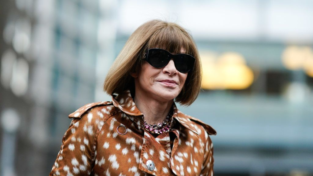 LONDON, ENGLAND - FEBRUARY 17: Anna Wintour is seen, outside Burberry, during London Fashion Week February 2019 on February 17, 2019 in London, England. (Photo by Edward Berthelot/Getty Images)