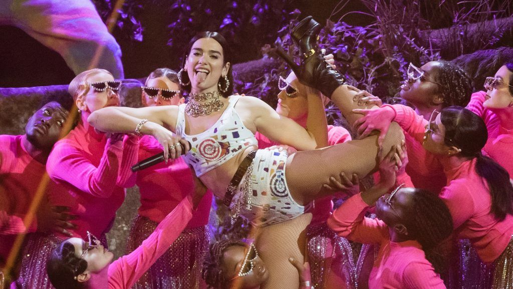 LONDON, ENGLAND - FEBRUARY 20: (EDITORIAL USE ONLY) Dua Lipa performs during The BRIT Awards 2019 held at The O2 Arena on February 20, 2019 in London, England. (Photo by Samir Hussein/WireImage)
