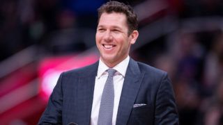 DETROIT, MI - MARCH 15: Los Angeles Lakers Head Basketball Coach Luke Walton watches the action during the third quarter of the game against the Detroit Pistons at Little Caesars Arena on March 15, 2019 in Detroit, Michigan. Detroit defeated Los Angeles 111-97. NOTE TO USER: User expressly acknowledges and agrees that, by downloading and or using this photograph, User is consenting to the terms and conditions of the Getty Images License Agreement (Photo by Leon Halip/Getty Images)