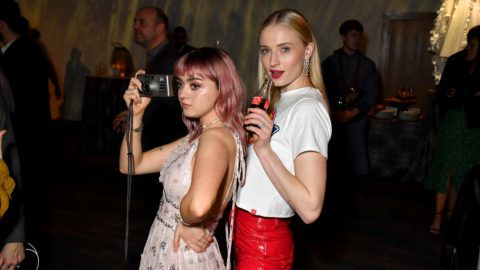 """BELFAST, NORTHERN IRELAND - APRIL 12: Maisie Williams, Sophie Turner at the """"Game of Thrones"""" season finale premiere at the Waterfront Hall on April 12, 2019 in Belfast, Northern Ireland.  (Photo by Jeff Kravitz/FilmMagic for HBO)"""