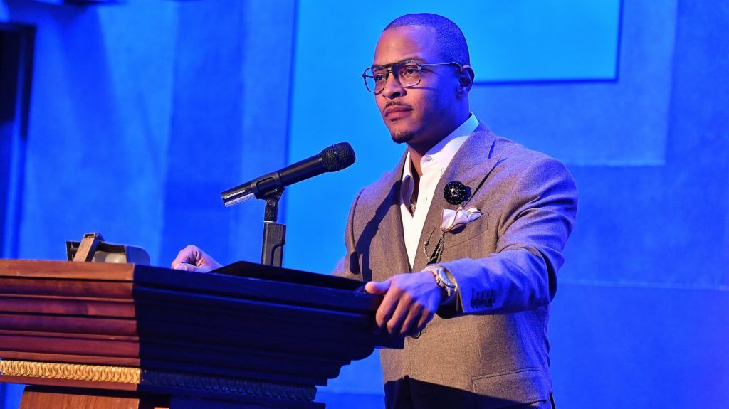 """ATLANTA, GEORGIA - APRIL 03:  Rapper/actor Tip """"T.I."""" Harris speaks onstage during the Atlanta Film Festival's 2019 IMAGE Film Awards Gala at Fox Theater on April 03, 2019 in Atlanta, Georgia. (Photo by Paras Griffin/Getty Images)"""