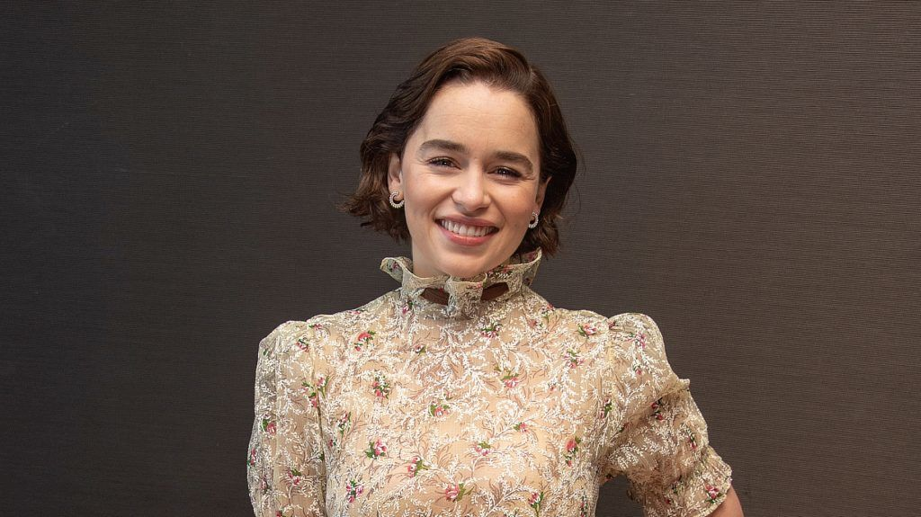 """NEW YORK, NEW YORK - APRIL 04: Emilia Clarke at the """"Game Of Thrones"""" Press Conference at the Mandarin Oriental Hotel on April 04, 2019 in New York City. (Photo by Vera Anderson/WireImage)"""