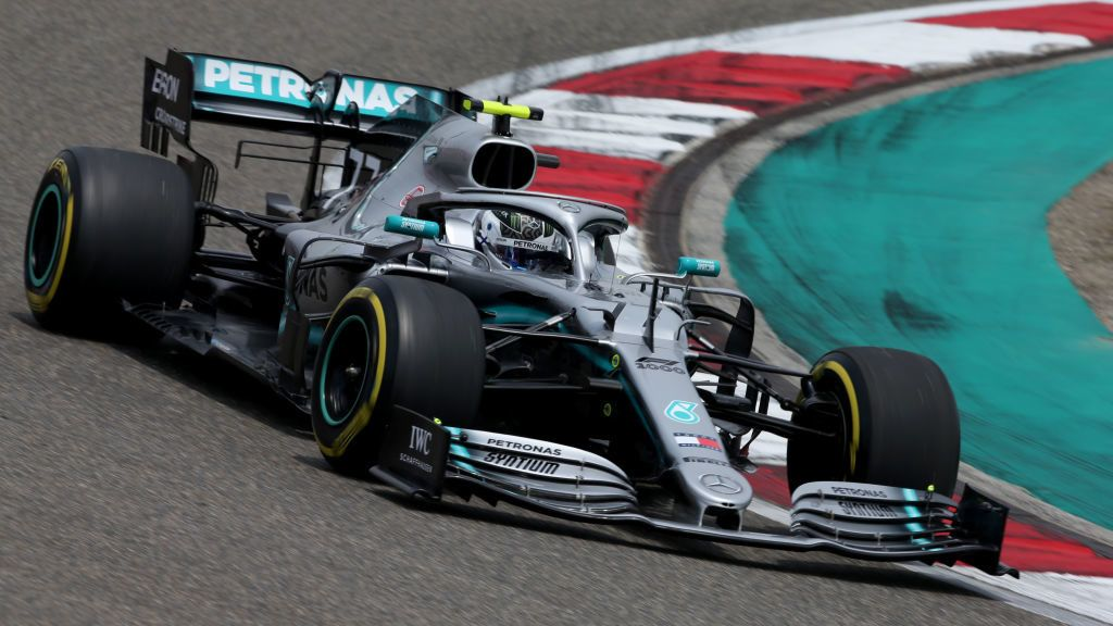 SHANGHAI, CHINA - APRIL 13: Valtteri Bottas driving the (77) Mercedes AMG Petronas F1 Team Mercedes W10 on track during final practice for the F1 Grand Prix of China at Shanghai International Circuit on April 13, 2019 in Shanghai, China. (Photo by Charles Coates/Getty Images)