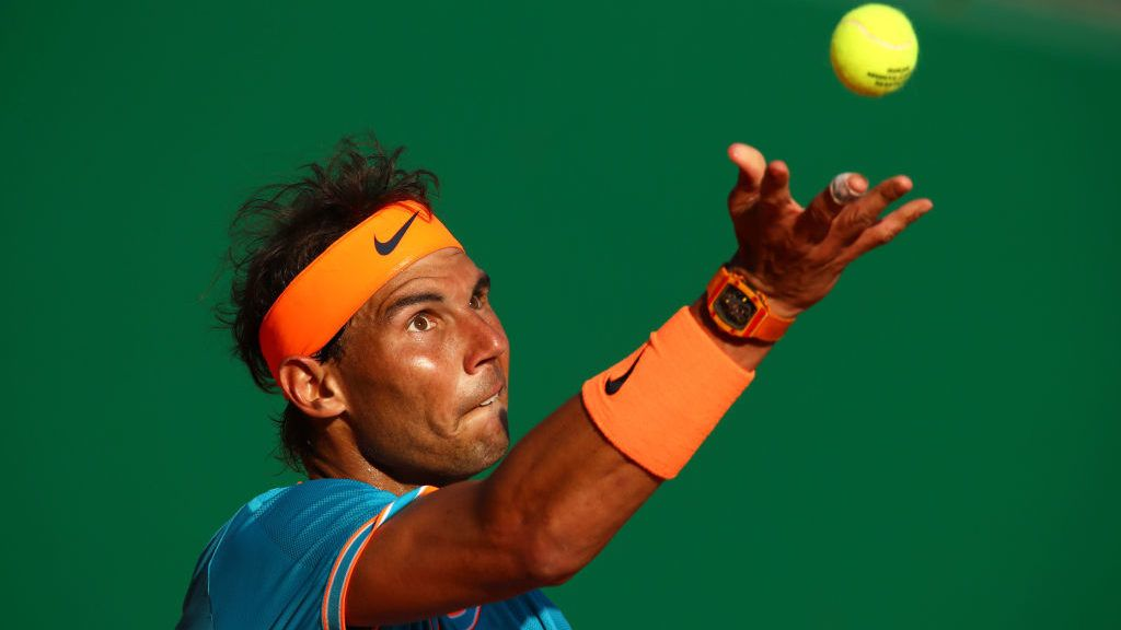 MONTE-CARLO, MONACO - APRIL 19: Rafael Nadal of Spain serves against Guido Pella of Argentina in their quarter final match during day six of the Rolex Monte-Carlo Masters at Monte-Carlo Country Club on April 19, 2019 in Monte-Carlo, Monaco. (Photo by Clive Brunskill/Getty Images)