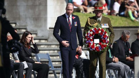 AUCKLAND, NEW ZEALAND - APRIL 25: Prince William, Duke of Cambridge lays a wreath as he attends the ANZAC Day Civic Service at the Auckland War Memorial Museum on April 25, 2019 in Auckland, New Zealand. Prince William is on a two-day visit to New Zealand to commemorate the victims of the Christchurch mosque terror attacks. (Photo by Phil Walter/Getty Images)