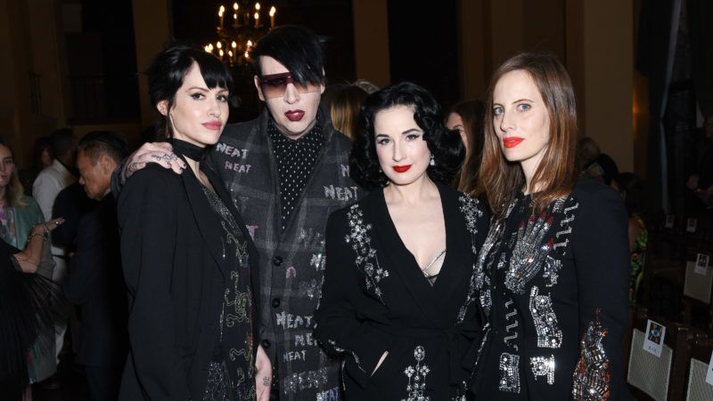 LOS ANGELES, CALIFORNIA - APRIL 26: Lindsay Usich, Marilyn Manson, Dita Von Teese and Liz Goldwyn attend the Libertine Fall 2019 Runway Show at Ebell of Los Angeles on April 26, 2019 in Los Angeles, California. (Photo by Presley Ann/Getty Images for Libertine)
