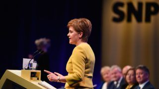 EDINBURGH, SCOTLAND - APRIL 28: Scottish National Party leader and First Minister of Scotland Nicola Sturgeon, gives her keynote speech on day two of the SNP Spring Conference at the Edinburgh International Conference Centre on April 28, 2019 in Edinburgh, Scotland. The Scottish first minister wants to hold a new vote on independence before the next Holyrood election in 2021, claiming that a surge in support for Indyref2 would force the UK government to back a new referendum. (Photo by Jeff J Mitchell/Getty Images)