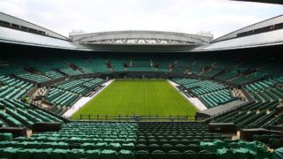 LONDON, ENGLAND - APRIL 30: A general view inside the Wimbledon Number 1 court with the new fixed and retractable roof after the Wimbledon Spring Press Conference 2019 at the All England Lawn Tennis and Croquet Club on April 30, 2019 in London, England. (Photo by Clive Brunskill/Getty Images)