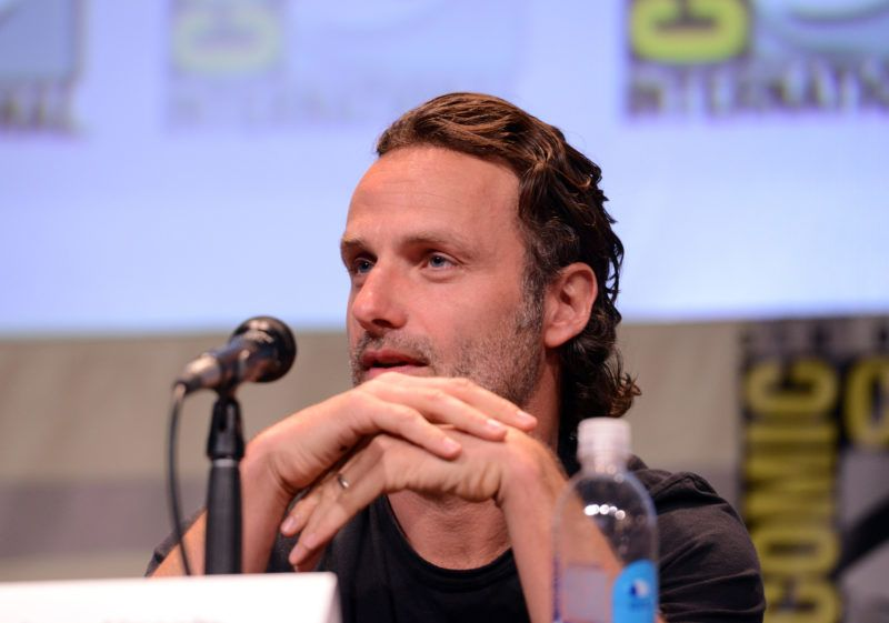 """SAN DIEGO, CA - JULY 10:  Actor Andrew Lincoln speaks onstage at AMC's """"The Walking Dead"""" panel during Comic-Con International 2015 at the San Diego Convention Center on July 10, 2015 in San Diego, California.  (Photo by Albert L. Ortega/Getty Images)"""