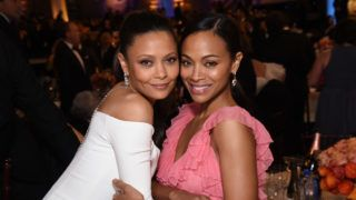 BEVERLY HILLS, CA - JANUARY 08:  Actresses Thandie Newton (L) and Zoe Saldana attend the 74th Annual Golden Globe Awards at The Beverly Hilton Hotel on January 8, 2017 in Beverly Hills, California.  (Photo by Michael Kovac/Getty Images for Moet & Chandon )