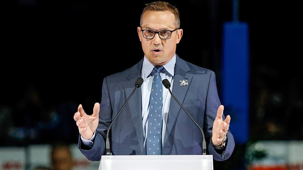 TAMPA, FL - JANUARY 13:  Tampa Bay Lightning general manager Steve Yzerman speaks during a ceremony to retire the number of former Tampa Bay Lightning Martin St. Louis at the Amalie Arena on January 13, 2017 in Tampa, Florida. (Photo by Mike Carlson/Getty Images)