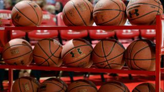 COLLEGE PARK, MD - JANUARY 07: A rack of Under Armour basketballs on the court before the game between the Maryland Terrapins and the Northwestern Wildcats at Xfinity Center on January 7, 2017 in College Park, Maryland.  (Photo by G Fiume/Maryland Terrapins/Getty Images)