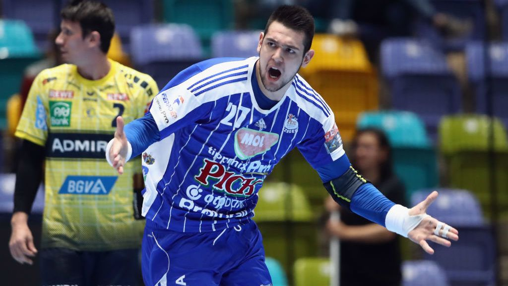 FRANKFURT AM MAIN, GERMANY - MARCH 08: Bence Banhidi of Szeged celebrates a goal during the EHF Champions League match between Rhein Neckar Loewen and Mol-Pick Szeged at Fraport-Arena on March 8, 2017 in Frankfurt am Main, Germany.  (Photo by Alex Grimm/Bongarts/Getty Images)
