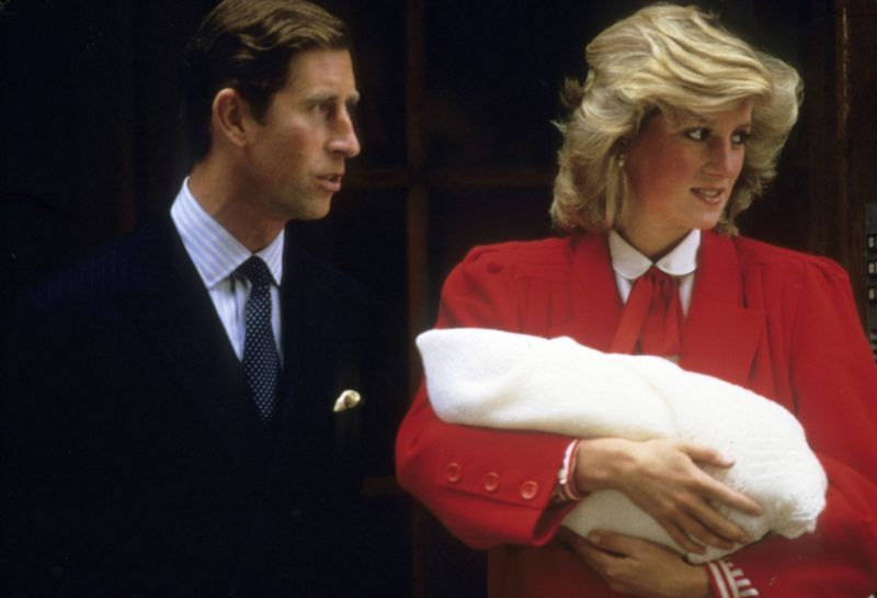 LONDON, UNITED KINGDOM - September 16:  Diana, Princess of Wales and Prince Charles, Prince of Wales leave the Lindo Wing of St. Mary's Hospital following the birth of Prince Harry on September 16, 1984 in London, England.  (Photo by Anwar Hussein/Getty Images)